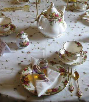 table setting relaxing tea